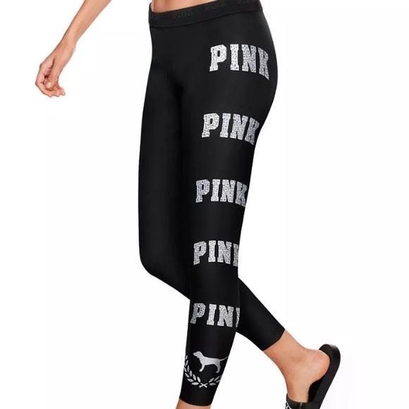 19f5b0a0fee38 Bling Ankle Leggings Silver Black VS Pink Logo. M_5b71f00b25457a67aae01243